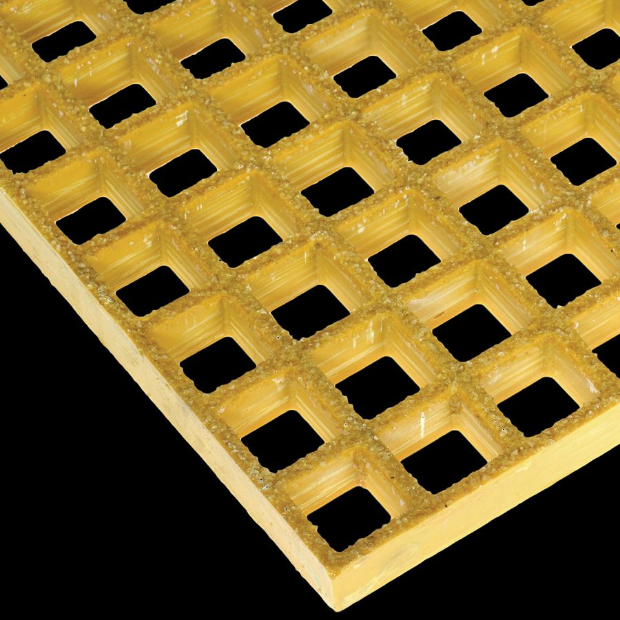 "McNICHOLS® Fiberglass Grating Molded, MS-S-100, Fiberglass, SGF Polyester Resin, Yellow, 1"" Grid Height, 1-1/2"" x 1-1/2"" Square Grid, Grit Surface, 70% Open Area"