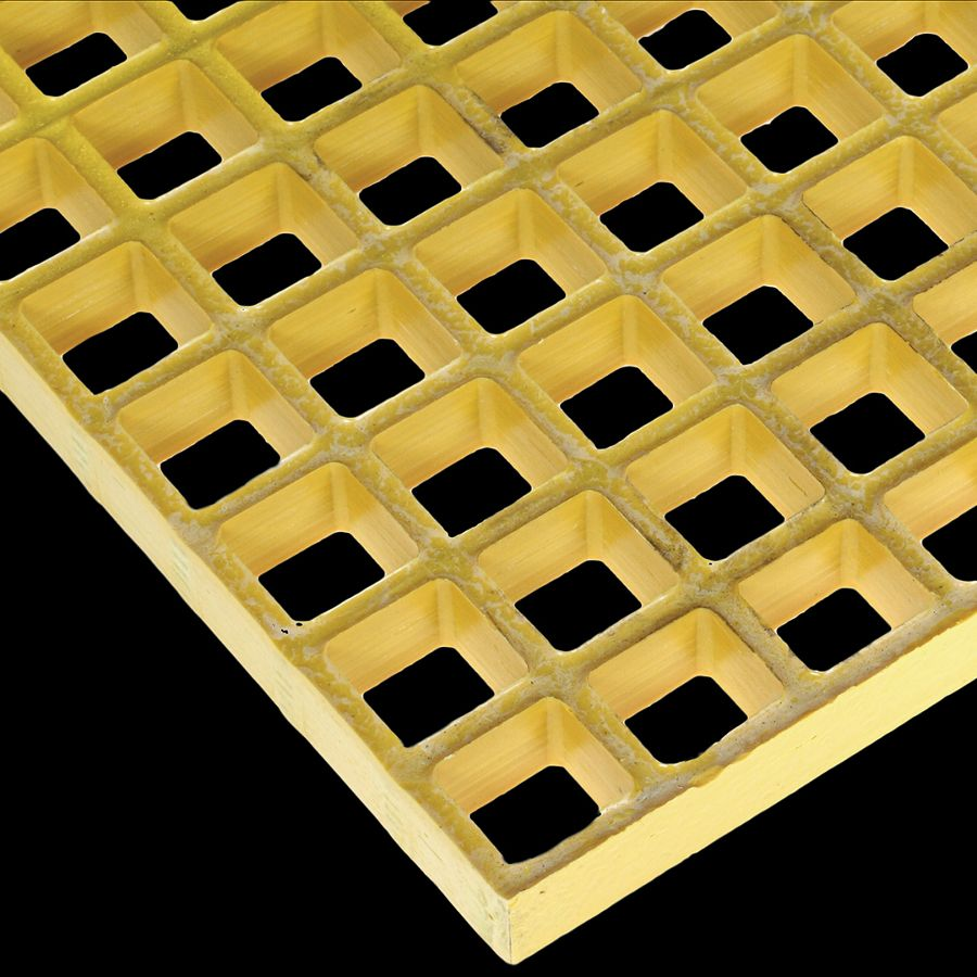 "McNICHOLS® Fiberglass Grating Molded, MS-S-100, Fiberglass, SGF Polyester Resin, Yellow, 1"" Grid Height, 1-1/2"" x 1-1/2"" Square Grid, Concave Surface, 70% Open Area"