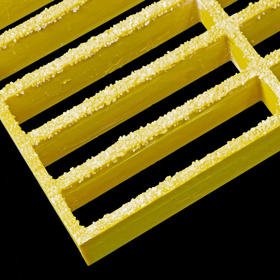"McNICHOLS® Fiberglass Grating Molded, Rectangular, MS-R-150, Fiberglass, SGF Polyester Resin, Yellow, 1-1/2"" Grid Height, 1-1/2"" x 6"" Rectangular Grid, Grit Surface, 74% Open Area"