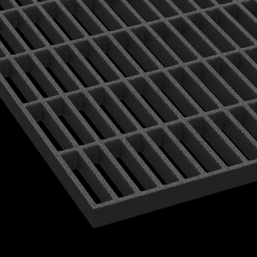 "McNICHOLS® Fiberglass Grating Molded, MS-R-100, Fiberglass, SGF Polyester Resin, Dark Gray, 1"" Grid Height, 1"" x  4"" Rectangular Grid, Concave Surface, 67% Open Area"