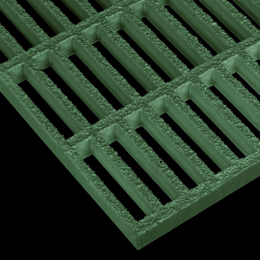"McNICHOLS® Fiberglass Grating Molded, Rectangular, MS-R-100, Fiberglass, SPF Polyester Resin, Green, 1"" Grid Height, 1"" x 4"" Rectangular Grid, Grit Surface, 67% Open Area"