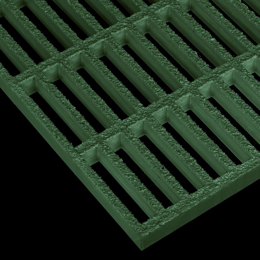 "McNICHOLS® Fiberglass Grating Molded, Rectangular, MS-R-100, Fiberglass, SFF Polyester Resin, Green, 1"" Grid Height, 1"" x 4"" Rectangular Grid, Grit Surface, 67% Open Area"