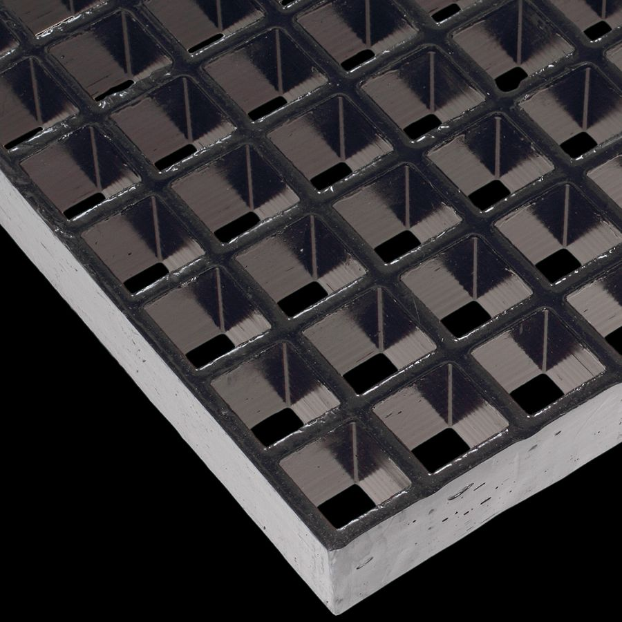 "McNICHOLS® Fiberglass Grating Molded, Rectangular, MS-R-100, Fiberglass, SVF Vinyl Ester Resin, Dark Gray, 1"" Grid Height, 1"" x 4"" Rectangular Grid, Grit Surface, 67% Open Area"
