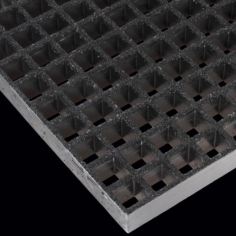 "McNICHOLS® Fiberglass Grating Molded, Square, MS-S-150, Fiberglass, SGF Polyester Resin, Dark Gray, 1-1/2"" Grid Height, 1-1/2"" x 1-1/2"" Square Grid, Grit Surface, 70% Open Area"