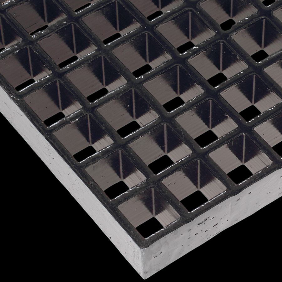 "McNICHOLS® Fiberglass Grating Molded, MS-S-150, Fiberglass, SGF Polyester Resin, Dark Gray, 1-1/2"" Grid Height, 1-1/2"" x 1-1/2"" Square Grid, Concave Surface, 70% Open Area"