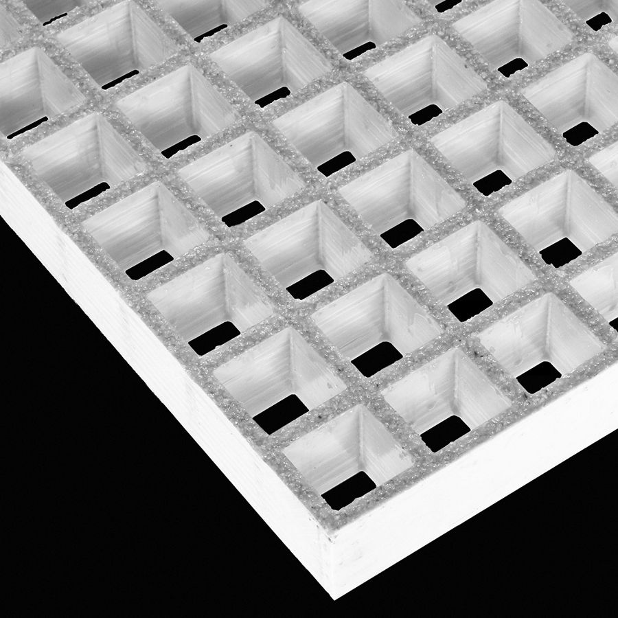 "McNICHOLS® Fiberglass Grating Molded, Square, MS-S-150, Fiberglass, SGF Polyester Resin, Light Gray, 1-1/2"" Grid Height, 1-1/2"" x 1-1/2"" Square Grid, Grit Surface, 70% Open Area"
