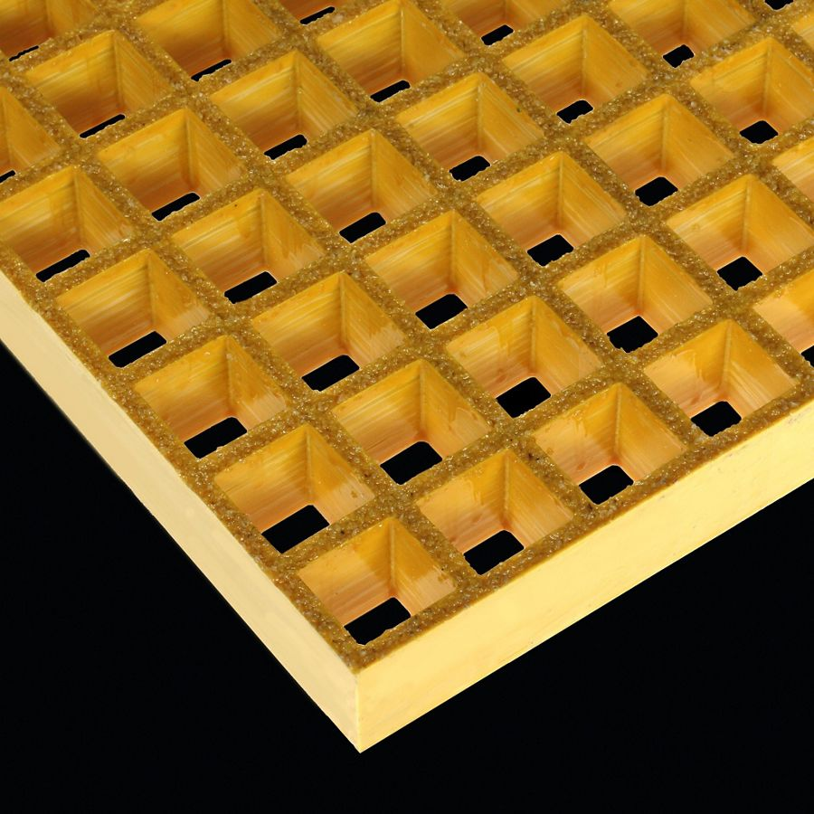 "McNICHOLS® Fiberglass Grating Molded, Square, MS-S-150, Fiberglass, SGF Polyester Resin, Yellow, 1-1/2"" Grid Height, 1-1/2"" x 1-1/2"" Square Grid, Grit Surface, 70% Open Area"