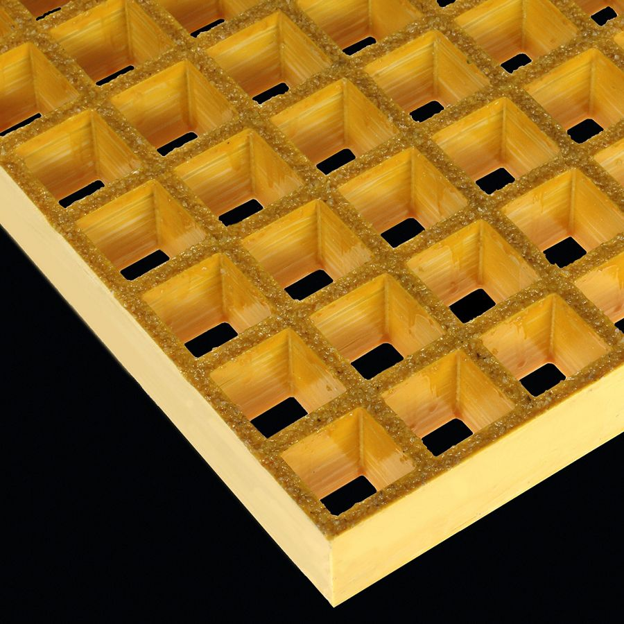 "McNICHOLS® Fiberglass Grating Molded, MS-S-150, Fiberglass, SGF Polyester Resin, Yellow, 1-1/2"" Grid Height, 1-1/2"" x 1-1/2"" Square Grid, Grit Surface, 70% Open Area"