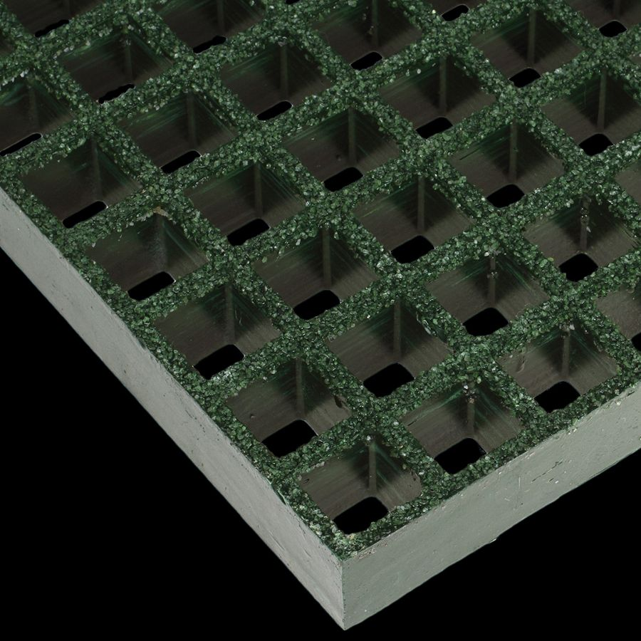 "McNICHOLS® Fiberglass Grating Molded, Square, MS-S-150, Fiberglass, SFF Polyester Resin, Green, 1-1/2"" Grid Height, 1-1/2"" x 1-1/2"" Square Grid, Grit Surface, 70% Open Area"