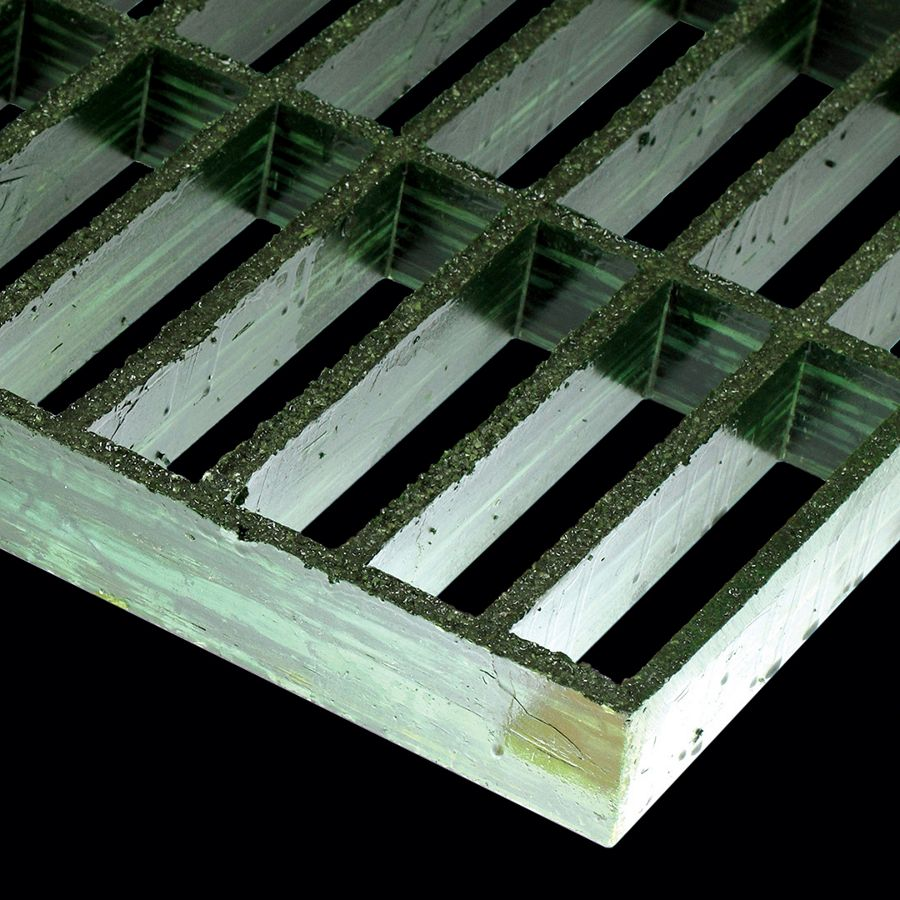 "McNICHOLS® Fiberglass Grating Molded, Rectangular, MS-R-150, Fiberglass, SFF Polyester Resin, Green, 1-1/2"" Grid Height, 1-1/2"" x 6"" Rectangular Grid, Grit Surface, 74% Open Area"