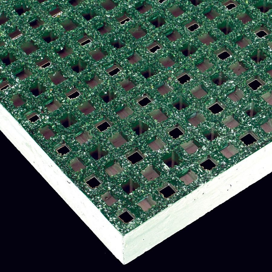 "McNICHOLS® Fiberglass Grating Molded, Square, MS-M-150, ADA, Fiberglass, SGF Polyester Resin, Green, 1-1/2"" Grid Height, 3/4"" x 3/4"" Square Grid - (Top), 1-1/2"" x 1-1/2"" Square Grid - (Bottom), Grit Surface, 44% Open Area"