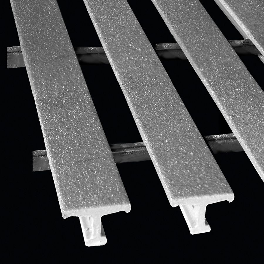 "McNICHOLS® Fiberglass Grating Pultruded, MS-WT-3810 - DURAGRID®, Fiberglass, SPF Polyester Resin, Gray, 1.000"" Height x 1.625"" Top Flange Width Wide T-Bar, Medium Grit Surface, 38% Open Area"