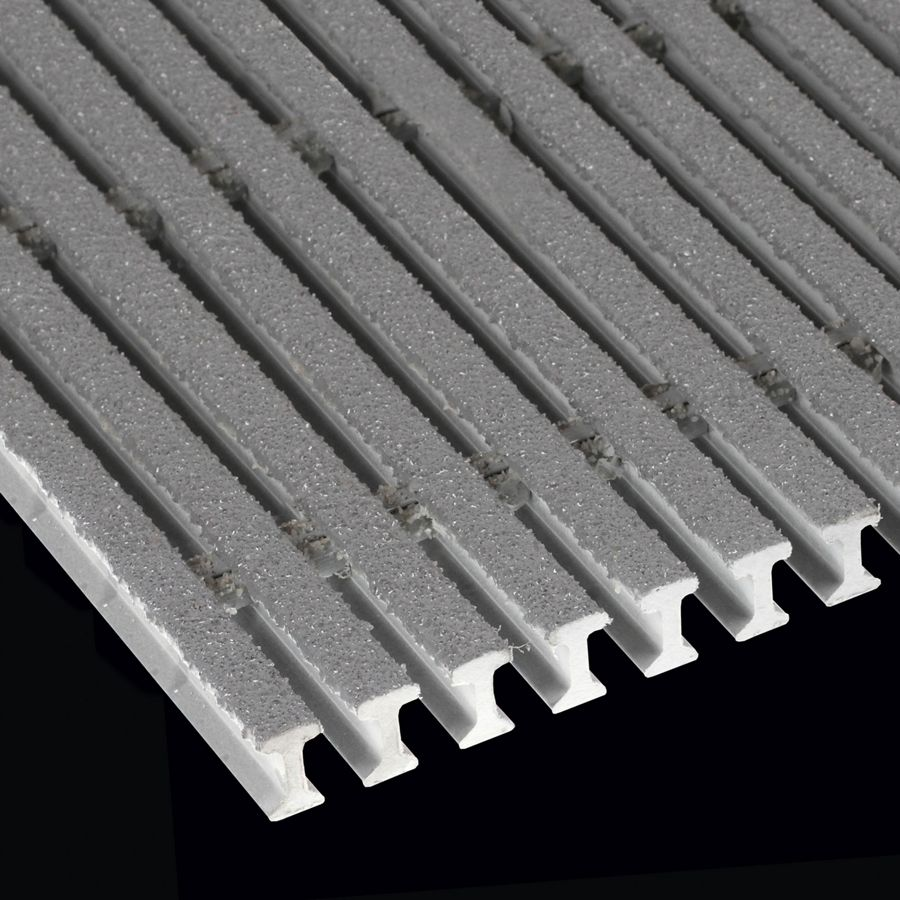 "McNICHOLS® Fiberglass Grating Pultruded, I-Bar, MS-I-4010 - DURAGRID®, ADA, Fiberglass, SPF Polyester Resin, Gray, 1.000"" Height x 0.600"" Top Flange Width I-Bar, Medium Grit Surface, 40% Open Area"