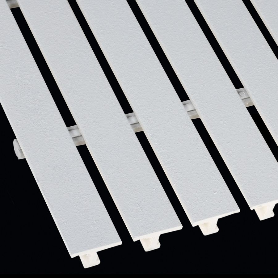 "McNICHOLS® Fiberglass Grating Pultruded, Wide T-Bar, MS-WT-1810 - DURAGRID®, ADA, Fiberglass, SPF Polyester Resin, White, 1.000"" Height x 1.625"" Top Flange Width Wide T-Bar, Fine Grit Surface, 18% Open Area"