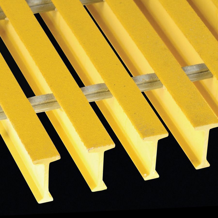 "McNICHOLS® Fiberglass Grating Pultruded, T-Bar, MS-T-5020 - DURAGRID®, Fiberglass, SPF Polyester Resin, Yellow, 2.000"" Height x 1.000"" Top Flange Width T-Bar, Medium Grit Surface, 50% Open Area"
