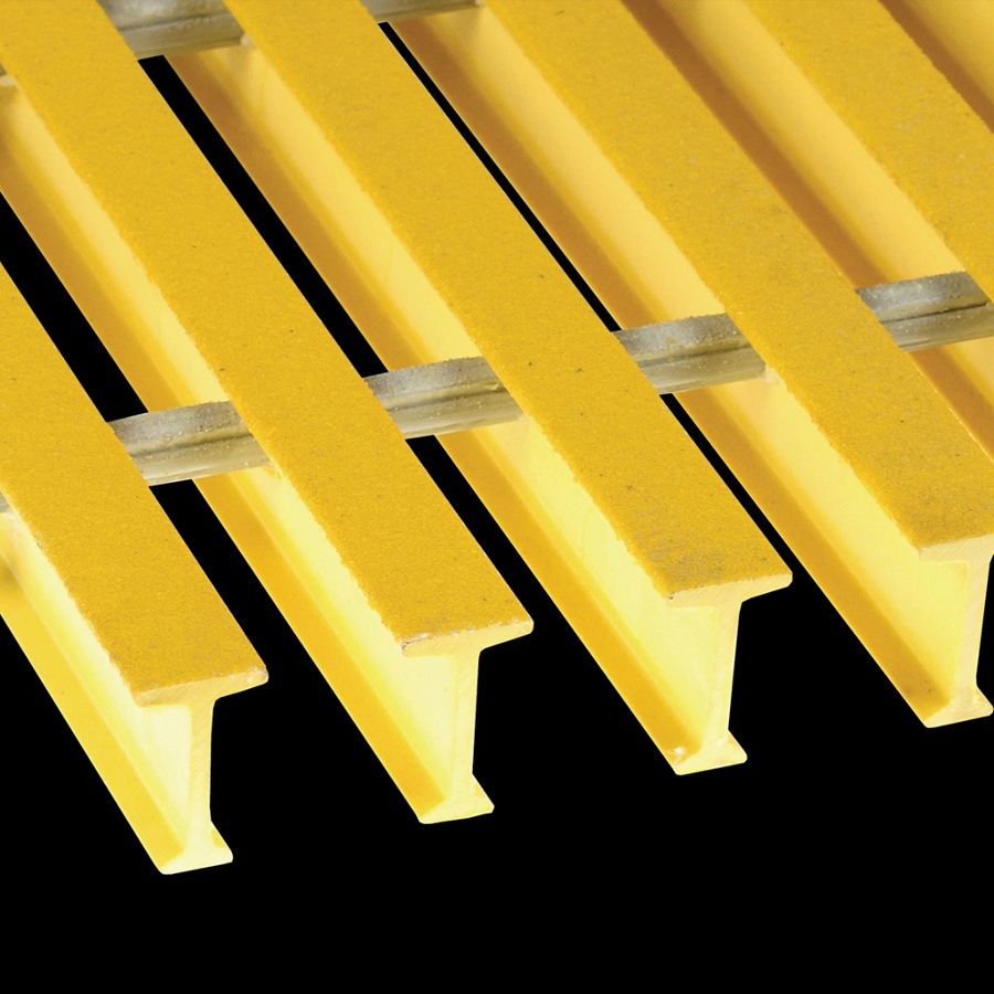"McNICHOLS® Fiberglass Grating Pultruded, I-Bar, MS-I-6010 - DURAGRID®, Fiberglass, SPF Polyester Resin, Yellow, 1.000"" Height x 0.600"" Top Flange Width I-Bar, Medium Grit Surface, 60% Open Area"