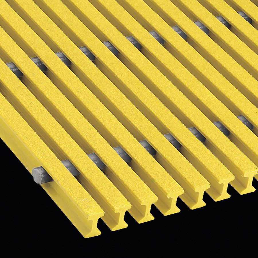 "McNICHOLS® Fiberglass Grating Pultruded, I-Bar, MS-I-4010 - DURAGRID®, ADA, Fiberglass, SPF Polyester Resin, Yellow, 1.000"" Height x 0.600"" Top Flange Width I-Bar, Fine Grit Surface, 40% Open Area"