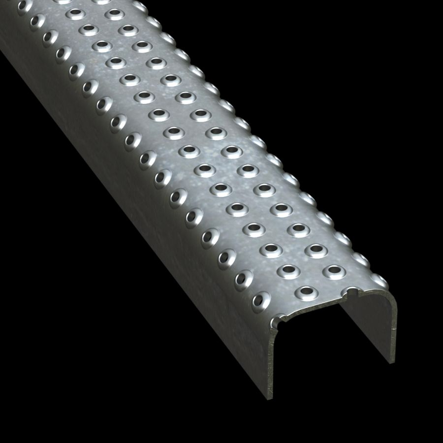 "McNICHOLS® Plank Grating Ladder Rung Plank, TRACTION TREAD®, Galvanized, ASTM A-924, 13 Gauge (.0934"" Thick), 4-Row (2-1/4"" Width), 1-1/2"" Channel Depth, Slip-Resistant Surface, 4% Open Area"