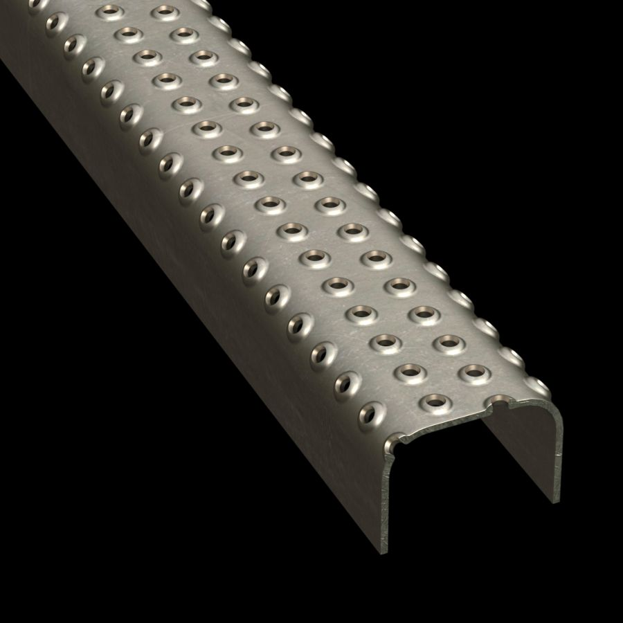 "McNICHOLS® Plank Grating Ladder Rung Plank, TRACTION TREAD®, Carbon Steel, 13 Gauge (.0897"" Thick), 4-Row (2-1/4"" Width), 1-1/2"" Channel Depth, Slip-Resistant Surface, 4% Open Area"