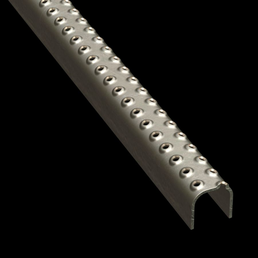 "McNICHOLS® Plank Grating Ladder Rung Plank, TRACTION TREAD®, Carbon Steel, HRPO, 13 Gauge (.0897"" Thick), 2-Row (1-1/4"" Width), 1-1/2"" Channel Depth, Slip-Resistant Surface, 2% Open Area"