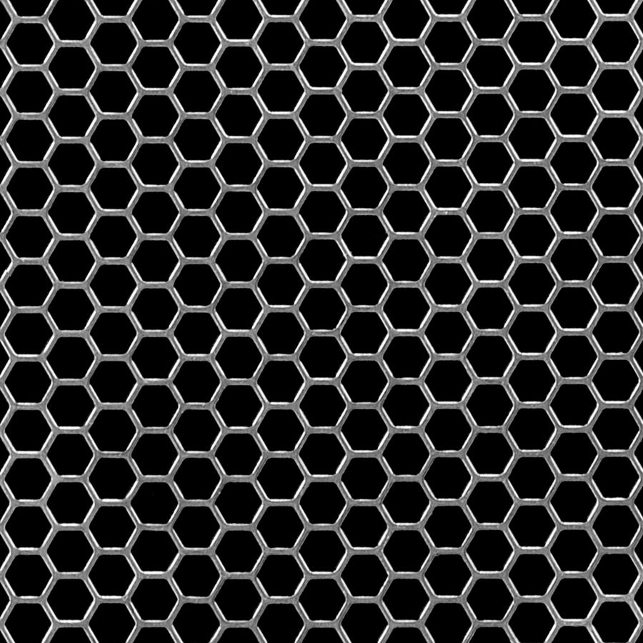 "McNICHOLS® Perforated Metal Designer Perforated, Hexagonal, HONEYCOMB 2279, Carbon Steel, Cold Rolled, 22 Gauge (.0299"" Thick), 1/4"" Hexagonal on 9/32"" Staggered Centers, 79% Open Area"