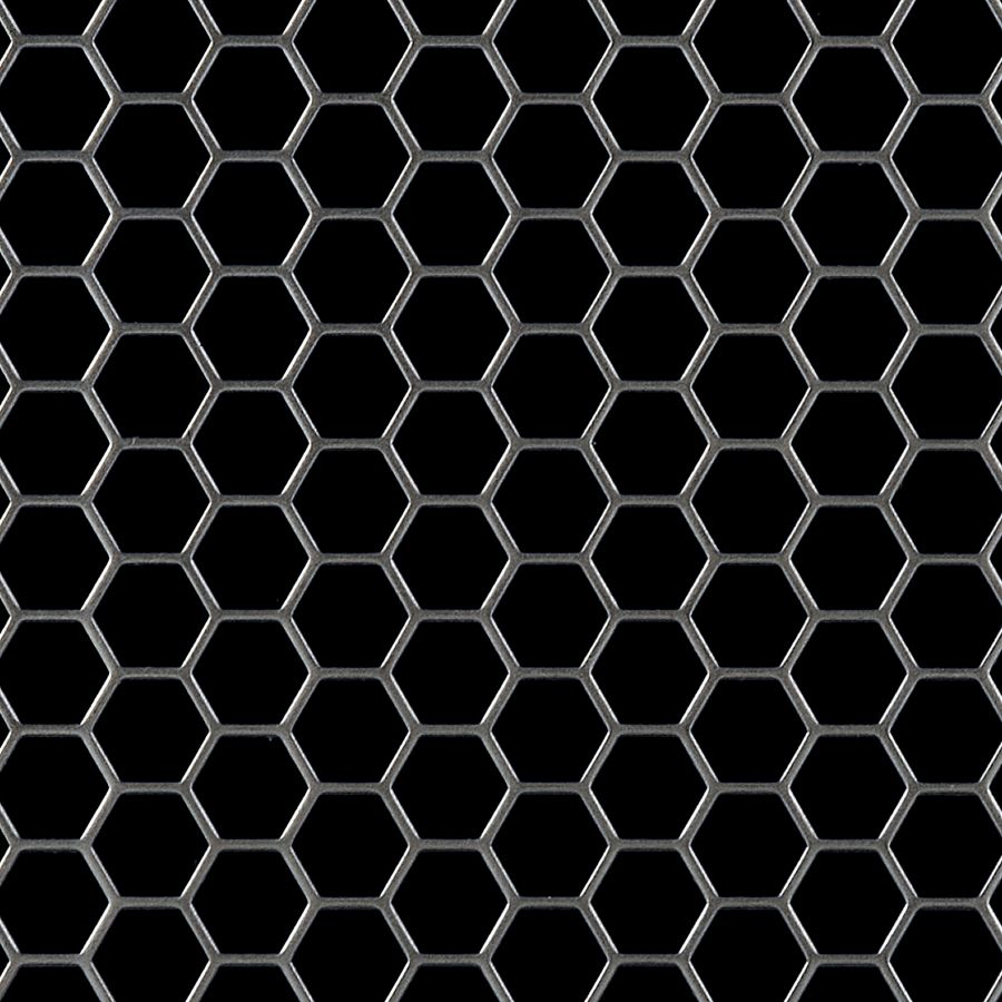 "McNICHOLS® Perforated Metal Hexagonal, Aluminum, Alloy 3003-H14, .0630"" Thick (14 Gauge), 1/2"" Hexagonal on 9/16"" Staggered Centers, 79% Open Area"
