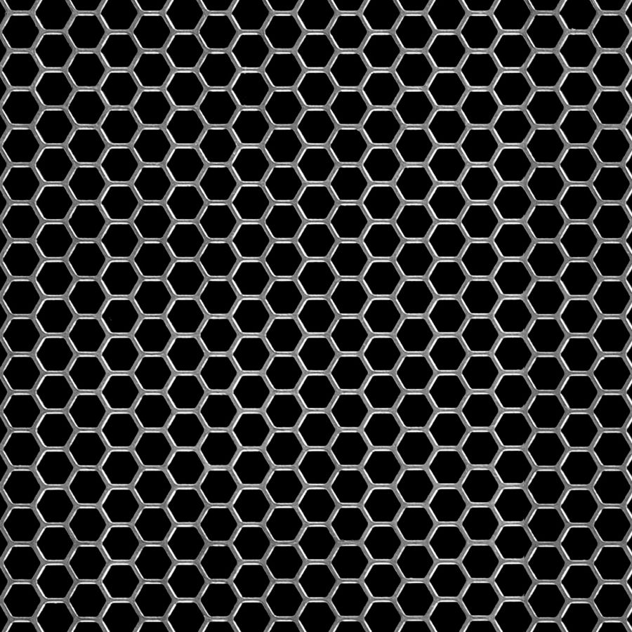 "McNICHOLS® Perforated Metal Designer Perforated, Hexagonal, HONEYCOMB 2079, Aluminum, Alloy 3003-H14, .0320"" Thick (20 Gauge), 1/4"" Hexagonal on 9/32"" Staggered Centers, 79% Open Area"