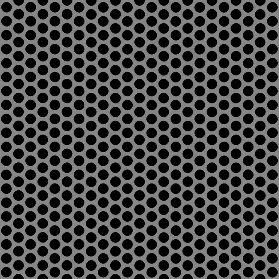 "McNICHOLS® Perforated Metal Round, Stainless Steel, Type 316L, 16 Gauge (.0625"" Thick), 1/4"" Round on 5/16"" Staggered Centers, 58% Open Area"