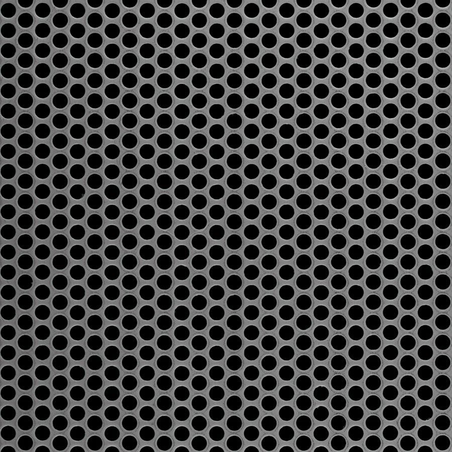 "McNICHOLS® Perforated  Metal Round, Stainless Steel, Type 316L, 16 Gauge (.0625"" Thick), 3/16"" Round on 1/4"" Staggered Centers, 51% Open Area"