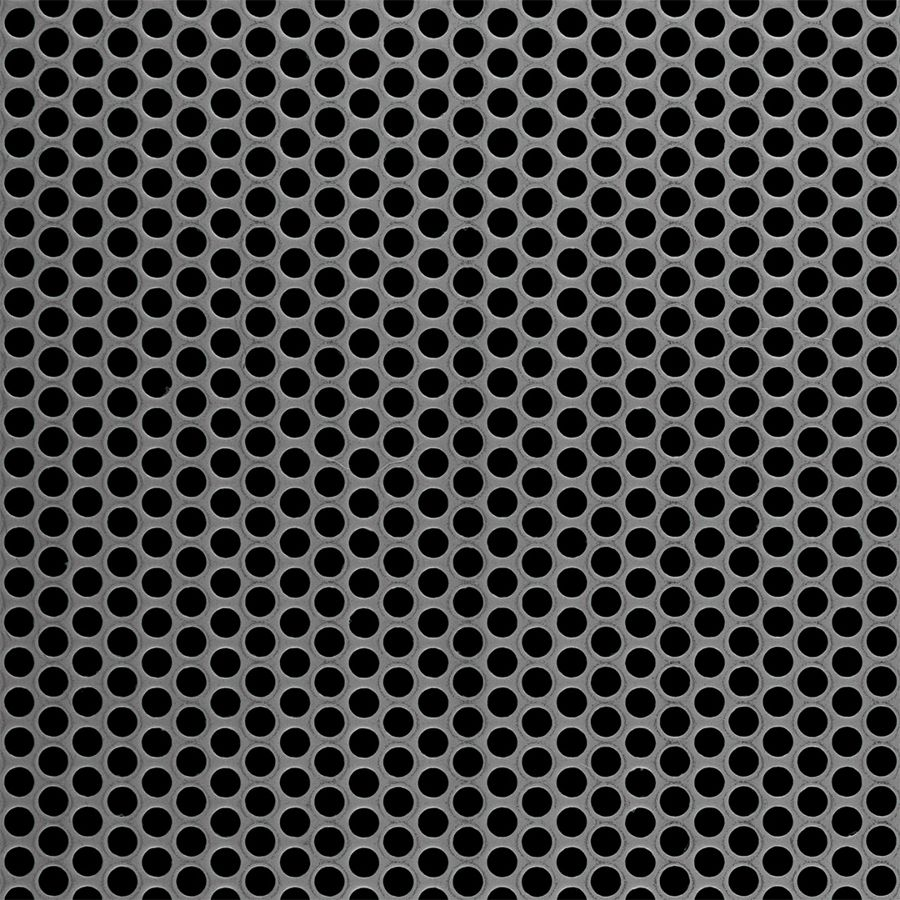 "McNICHOLS® Perforated Metal Round, Stainless Steel, Type 316L, 20 Gauge (.0375"" Thick), 3/16"" Round on 1/4"" Staggered Centers, 51% Open Area"