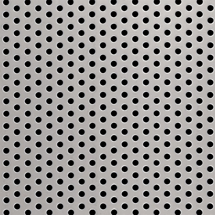 "McNICHOLS® Perforated  Metal Round, Stainless Steel, Type 316L, 16 Gauge (.0595"" Thick), 3/16"" Round on 3/8"" Staggered Centers, 23% Open Area"