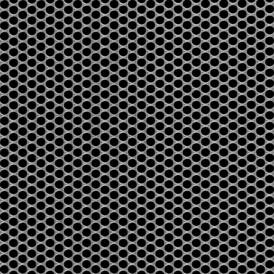 "McNICHOLS® Perforated  Metal Round, Stainless Steel, Type 316L, 18 Gauge (.0500"" Thick), 5/32"" Round on 3/16"" Staggered Centers, 63% Open Area"