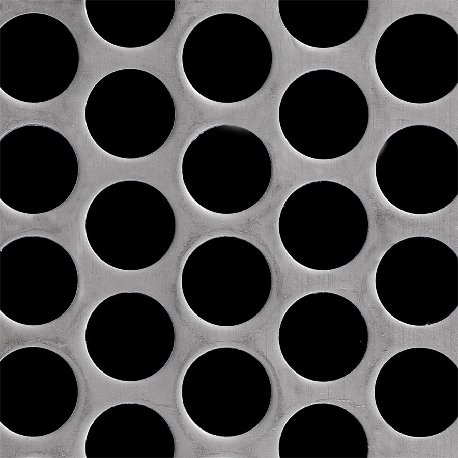 "McNICHOLS® Perforated Metal Round, Carbon Steel, HRPO, 11 Gauge (.1196"" Thick), 1"" Round on 1-1/4"" Staggered Centers, 58% Open Area"