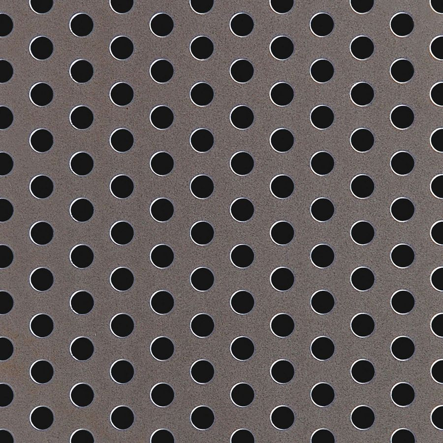 "McNICHOLS® Perforated Metal Round, Carbon Steel, HRPO, 11 Gauge (.1196"" Thick), 1/4"" Round on 1/2"" Staggered Centers, 23% Open Area"
