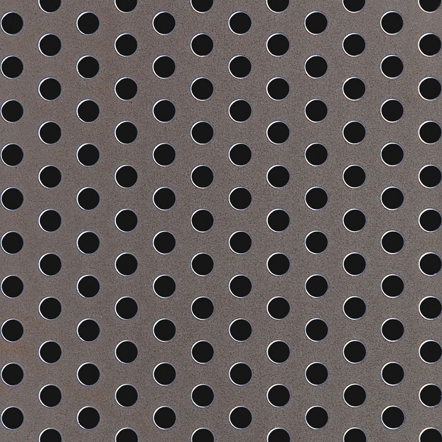 "McNICHOLS® Perforated Metal Round, Carbon Steel, HRPO, 14 Gauge (.0747"" Thick), 1/4"" Round on 1/2"" Staggered Centers, 23% Open Area"