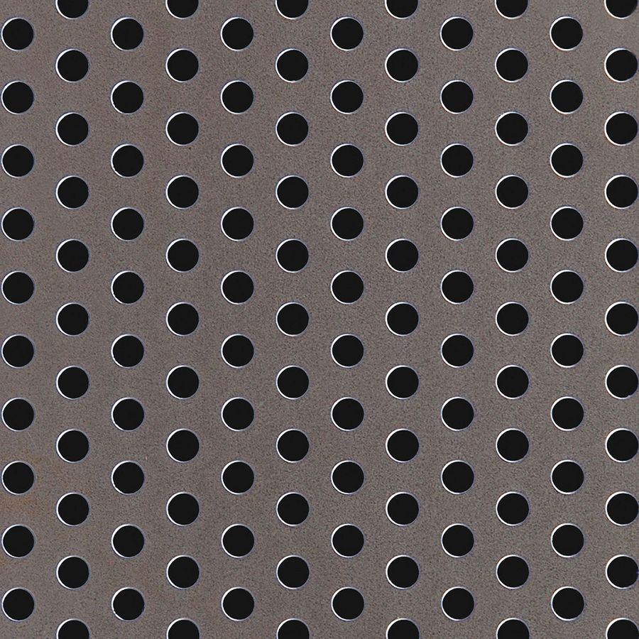 "McNICHOLS® Perforated Metal Round, Carbon Steel, Cold Rolled, 16 Gauge (.0598"" Thick), 1/4"" Round on 1/2"" Staggered Centers, 23% Open Area"