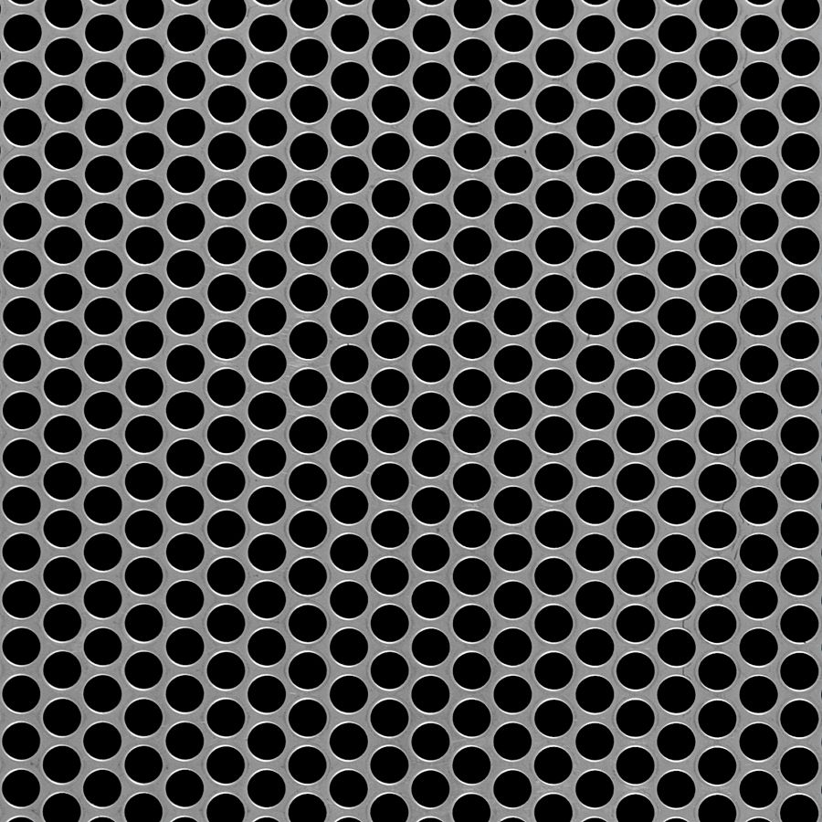 "McNICHOLS® Perforated  Metal Round, Carbon Steel, Cold Rolled, 16 Gauge (.0598"" Thick), 1/4"" Round on 5/16"" Staggered Centers, 58% Open Area"