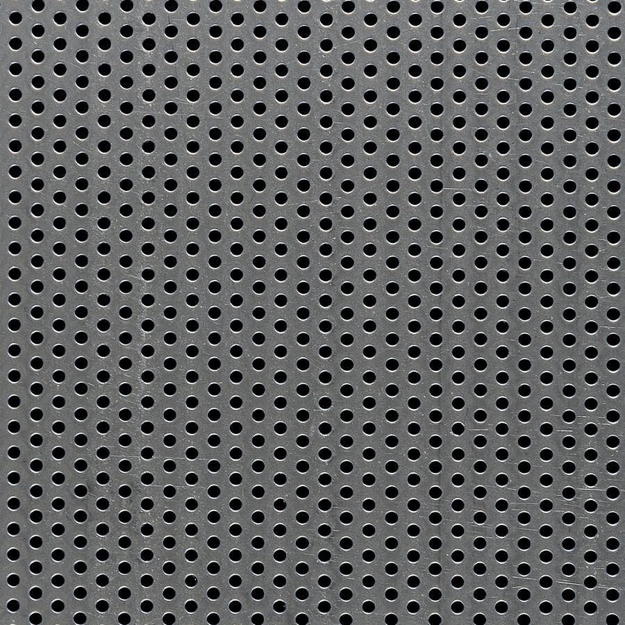 """McNICHOLS® Perforated  Metal Round, Carbon Steel, Cold Rolled, 16 Gauge (.0598"""" Thick), 1/8"""" Round on 1/4"""" Staggered Centers, 23% Open Area"""