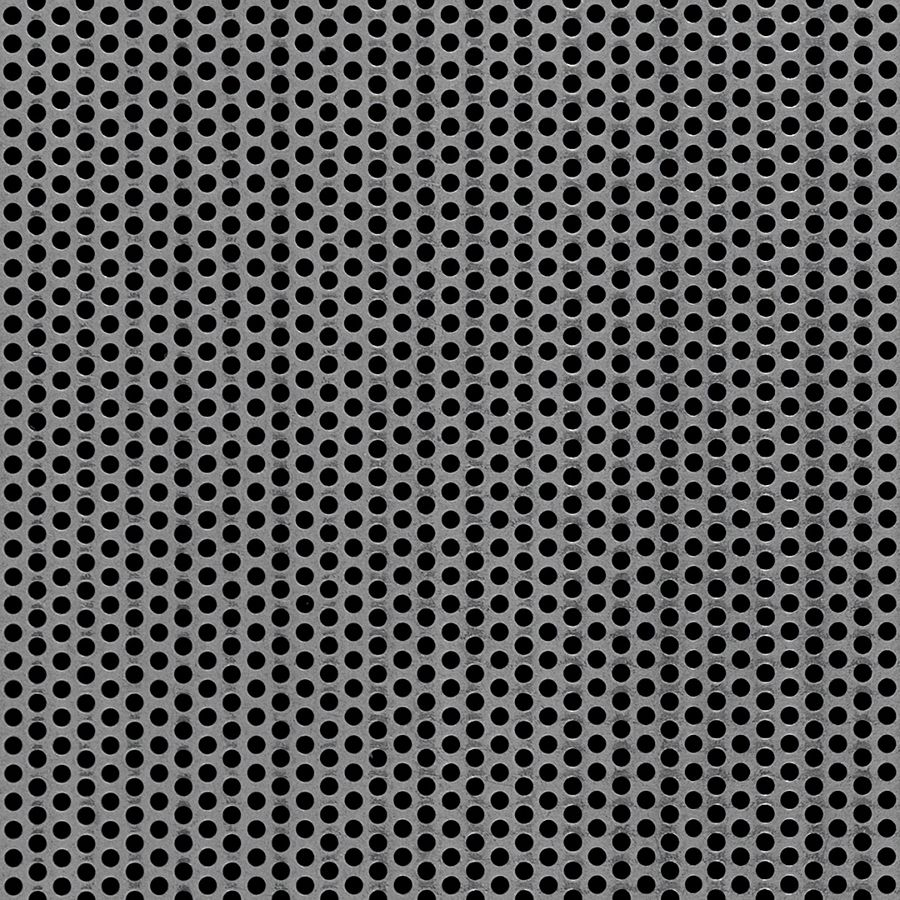 "McNICHOLS® Perforated Metal Round, Carbon Steel, Cold Rolled, 20 Gauge (.0359"" Thick), 1/8"" Round on 3/16"" Staggered Centers, 40% Open Area"