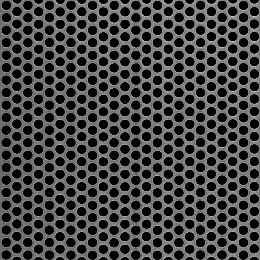 "McNICHOLS® Perforated Metal Round, Carbon Steel, HRPO, 11 Gauge (.1196"" Thick), 3/16"" Round on 1/4"" Staggered Centers, 51% Open Area"
