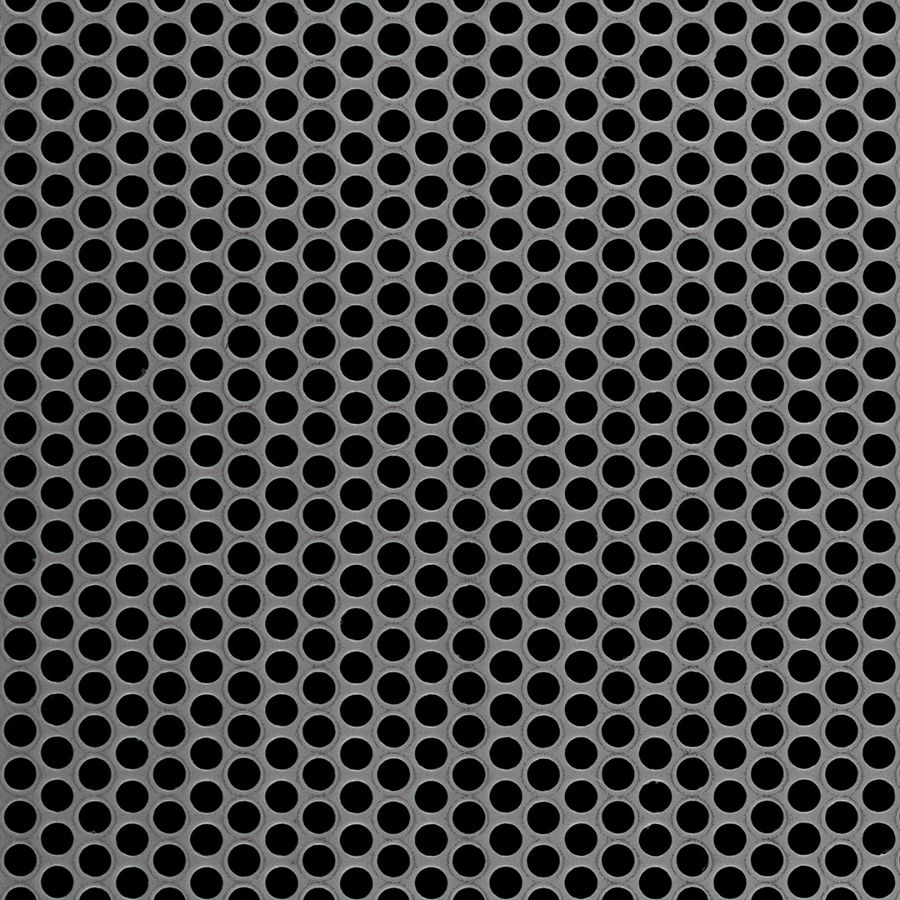 "McNICHOLS® Perforated Metal Round, Carbon Steel, HRPO, 12 Gauge (.1046"" Thick), 3/16"" Round on 1/4"" Staggered Centers, 51% Open Area"