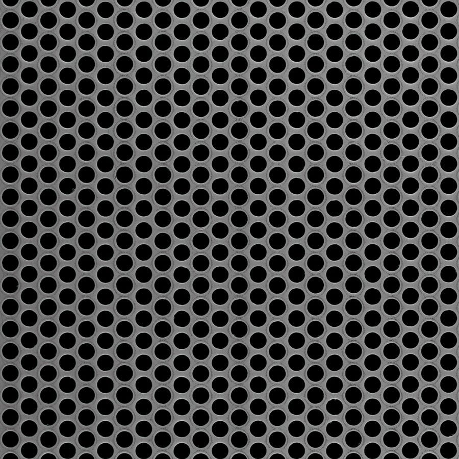 "McNICHOLS® Perforated Metal Round, Carbon Steel, Cold Rolled, 16 Gauge (.0598"" Thick), 3/16"" Round on 1/4"" Staggered Centers, 51% Open Area"