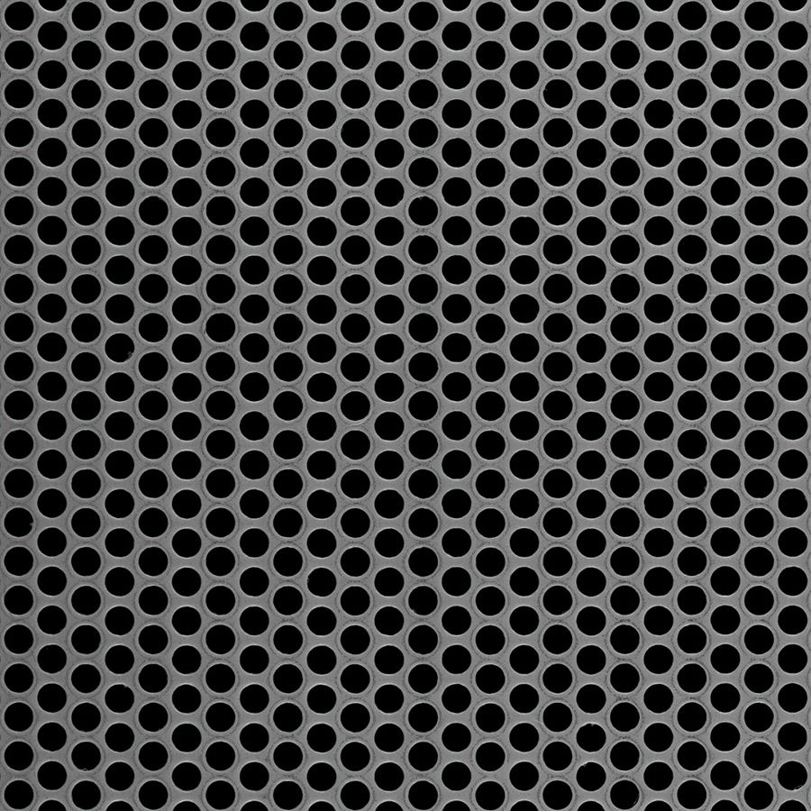 """McNICHOLS® Perforated  Metal Round, Carbon Steel, Cold Rolled, 18 Gauge (.0478"""" Thick), 3/16"""" Round on 1/4"""" Staggered Centers, 51% Open Area"""