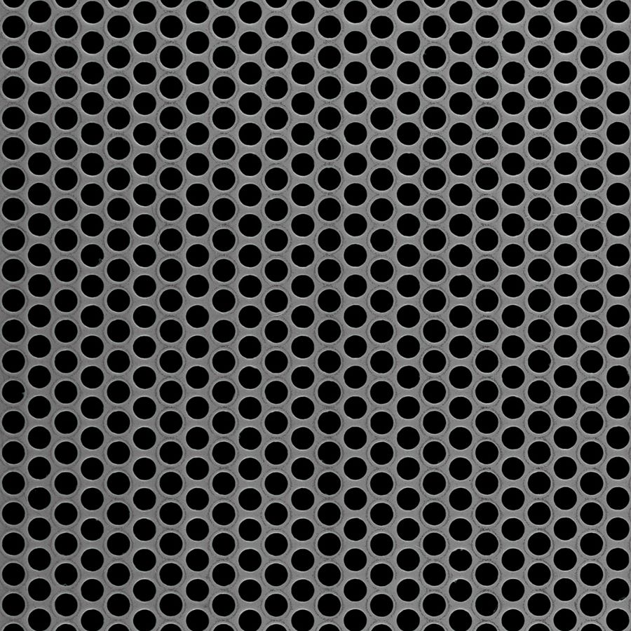 "McNICHOLS® Perforated Metal Round, Carbon Steel, Cold Rolled, 20 Gauge (.0359"" Thick), 3/16"" Round on 1/4"" Staggered Centers, 51% Open Area"