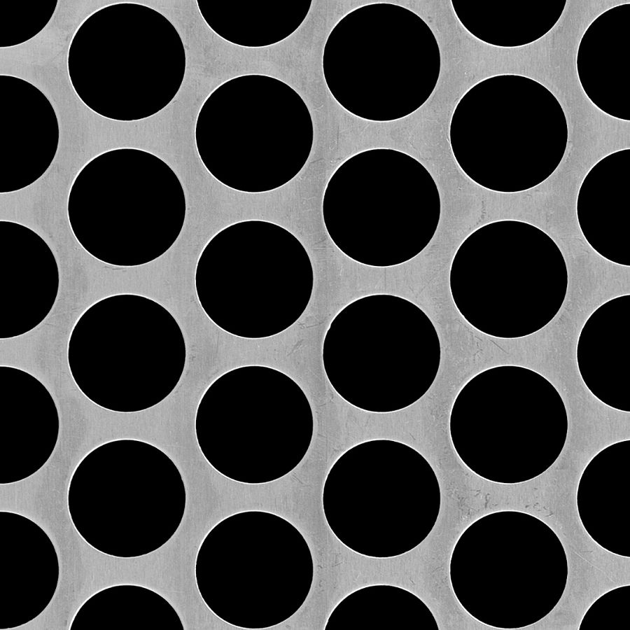"McNICHOLS® Perforated Metal Round, Aluminum, Alloy 3003-H14, .1250"" Thick (8 Gauge), 1"" Round on 1-1/4"" Staggered Centers, 58% Open Area"