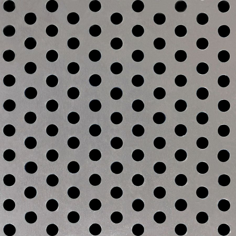 "McNICHOLS® Perforated Metal Round, Aluminum, Alloy 3003-H14, .2500"" Thick (1/4"" Gauge), 1/4"" Round on 1/2"" Staggered Centers, 23% Open Area"