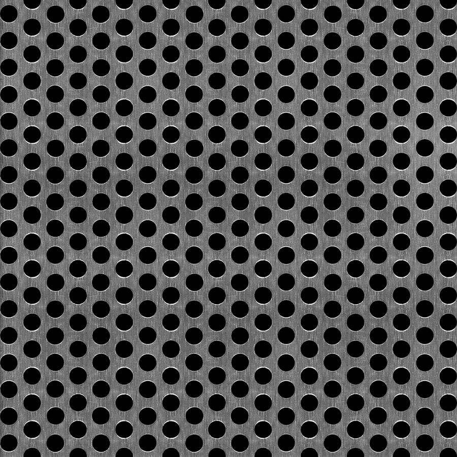 "McNICHOLS® Perforated  Metal Round, Aluminum, Alloy 5052-H32, .1250"" Thick (8 Gauge), 1/4"" Round on 3/8"" Staggered Centers, 40% Open Area"