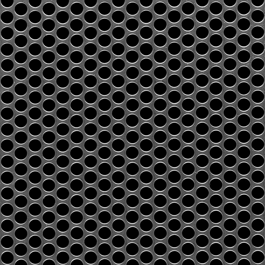 "McNICHOLS® Perforated Metal Round, Aluminum, Alloy 5052-H32, .0320"" Thick (20 Gauge), 1/4"" Round on 5/16"" Staggered Centers, 58% Open Area"