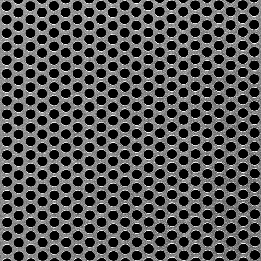"McNICHOLS® Perforated Metal Round, Aluminum, Alloy 3003-H14, .1250"" Thick (8 Gauge), 3/16"" Round on 1/4"" Staggered Centers, 51% Open Area"