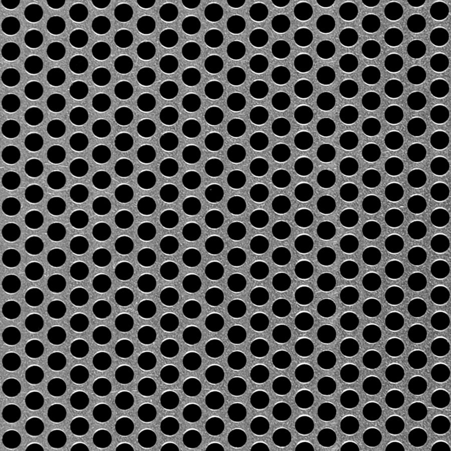 "McNICHOLS® Perforated Metal Round, Aluminum, Alloy 3003-H14, .0630"" Thick (14 Gauge), 3/16"" Round on 1/4"" Staggered Centers, 51% Open Area"